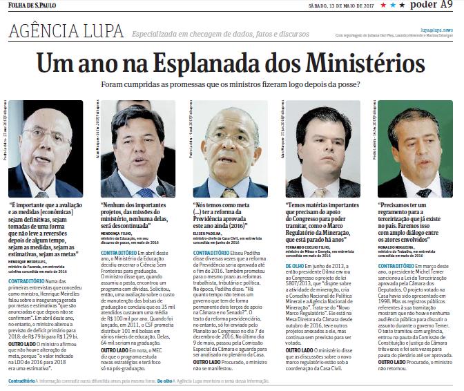 folha ministros 1 ano