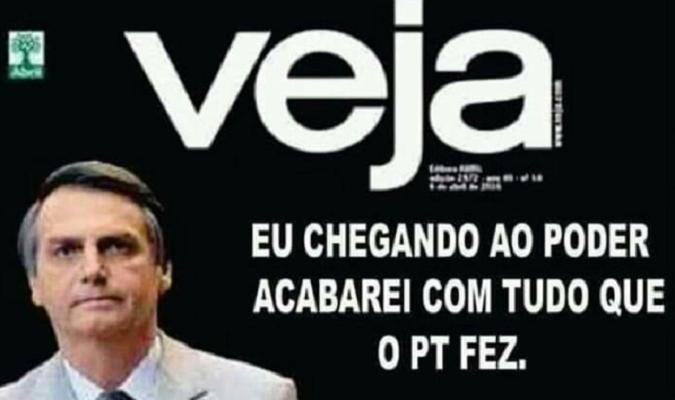 entregar tarta Comprometido  Verificamos: É falsa capa da Veja em que Bolsonaro diz que acabará com tudo  que PT fez | Agência Lupa