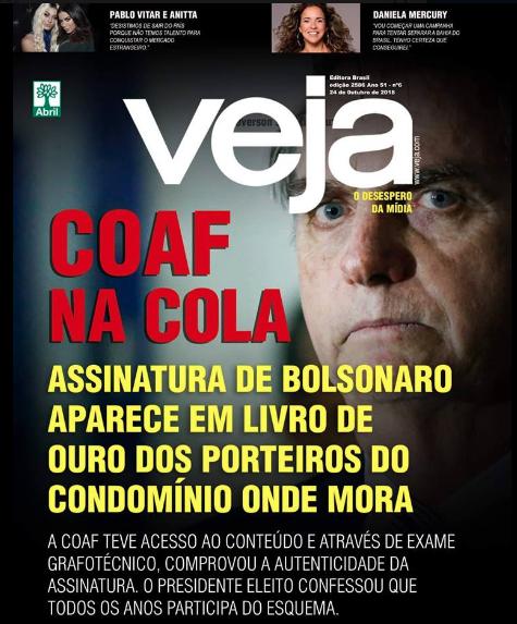 Ordenador portátil Intentar franja  Verificamos: É falsa capa da Veja em que Bolsonaro confessa participação em  esquema revelado pelo Coaf | Agência Lupa