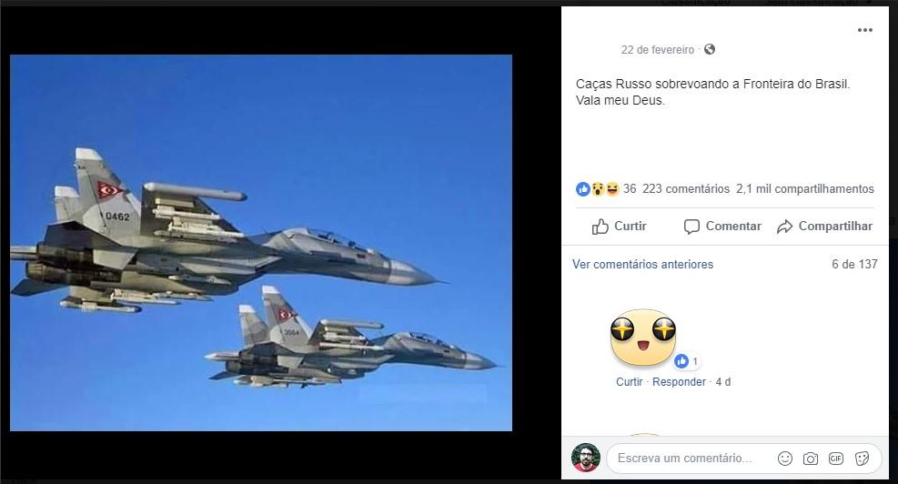 Post falso sobre caças venezuelanos