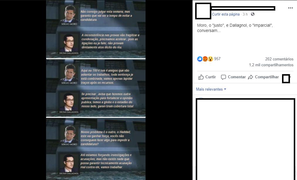 É falso diálogo em que Moro diz a Dallagnol