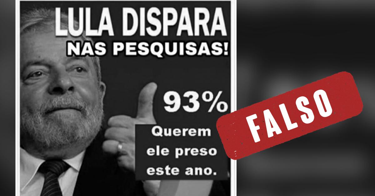 [Agência Lupa] #Verificamos: Não há pesquisas dizendo que 93% dos brasileiros querem Lula preso ou eleito presidente