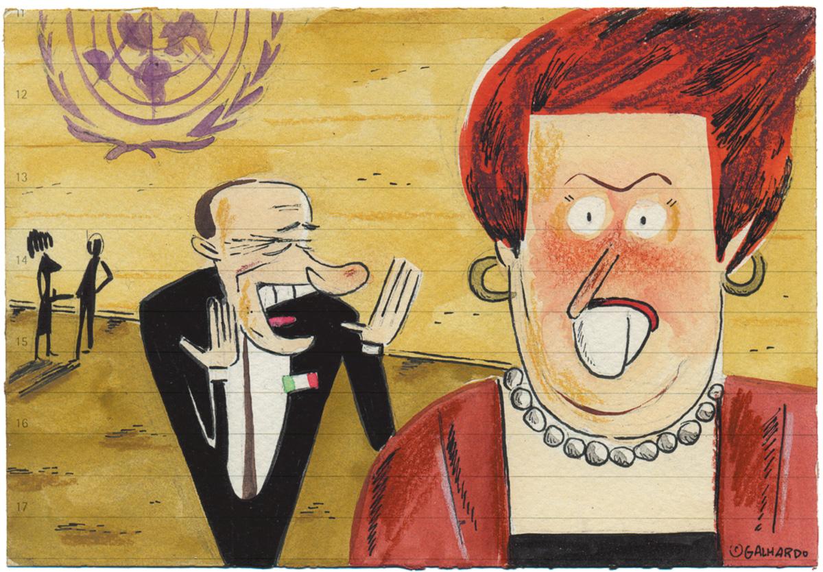 """""""Esse Berlusconi não se manca mesmo. Tá achando que Dilminha é uma das sirigaitas dele?"""""""