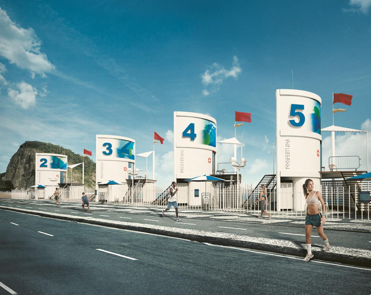 Reprodução da campanha publicitária da prefeitura do Rio afixada em pontos de ônibus, totens e bancas de jornal de Copacabana para divulgar as faixas de ônibus: ficção