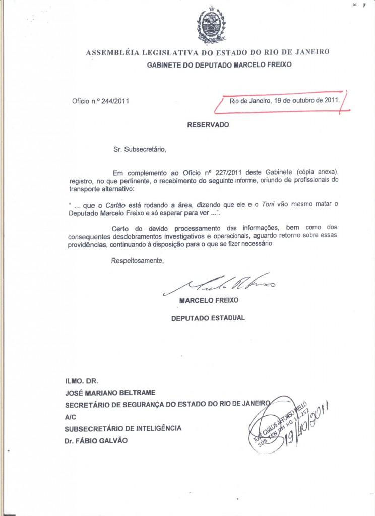 'Carlão' e 'Toni' continuariam tramando, informa Freixo ao sub-secretário Fábio Galvão