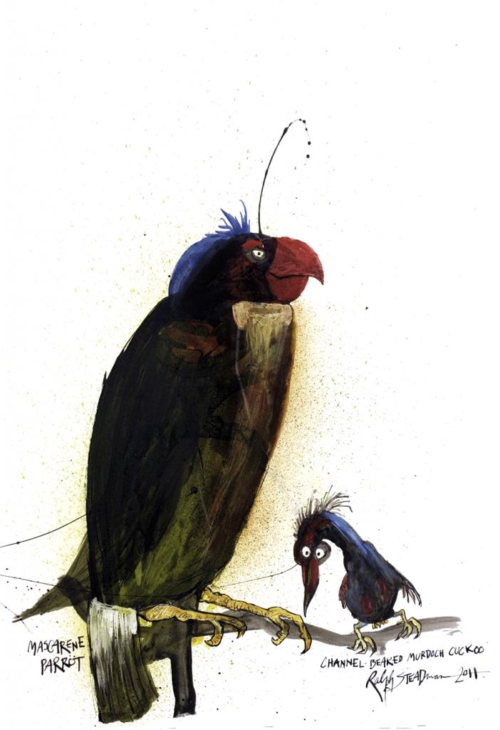 O papagaio-das-Mascarenhas, natural desse arquipélago do Índico, deixou de existir no século XIX. A seu lado, um pássaro fictício batizado em homenagem a um jornal falido de Rupert Murdoch