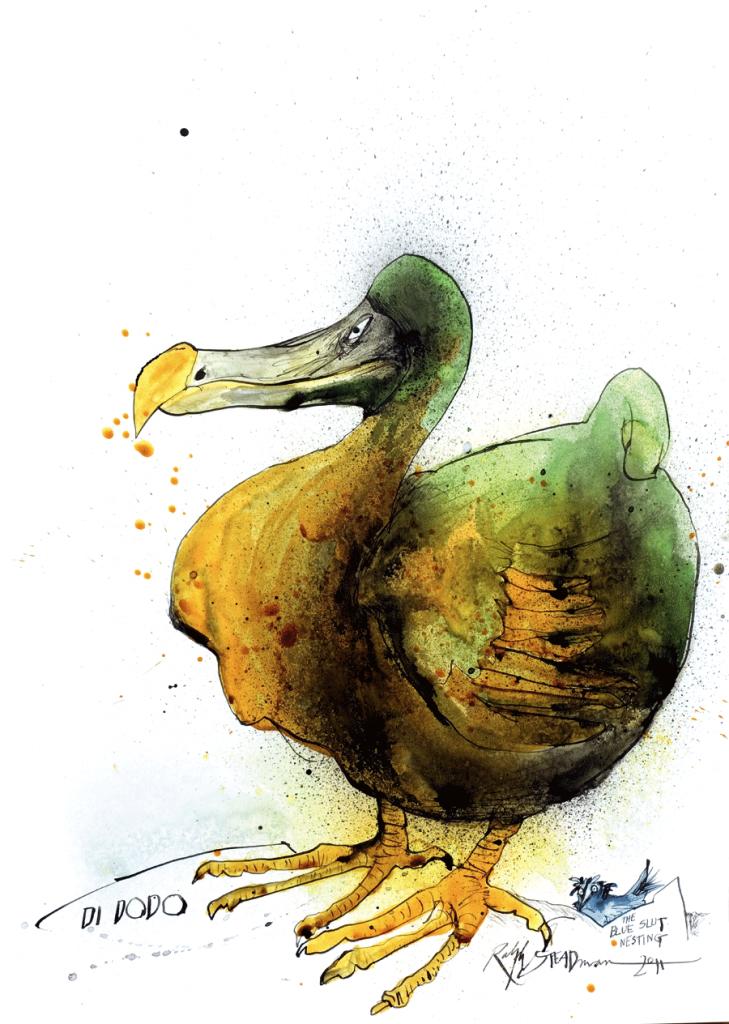 O dodô viveu nas Ilhas Maurício e desapareceu no fim do século XVII, vítima de predadores introduzidos em seu hábitat pela espécie humana. Foi desenhado ao lado de um pássaro azul imaginário