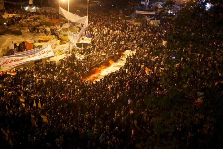 Manifestação da praça Tahrir vista do alto