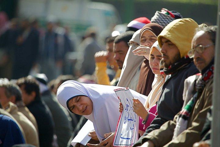 Mulheres na praça Tahrir nas manifestações de 2011