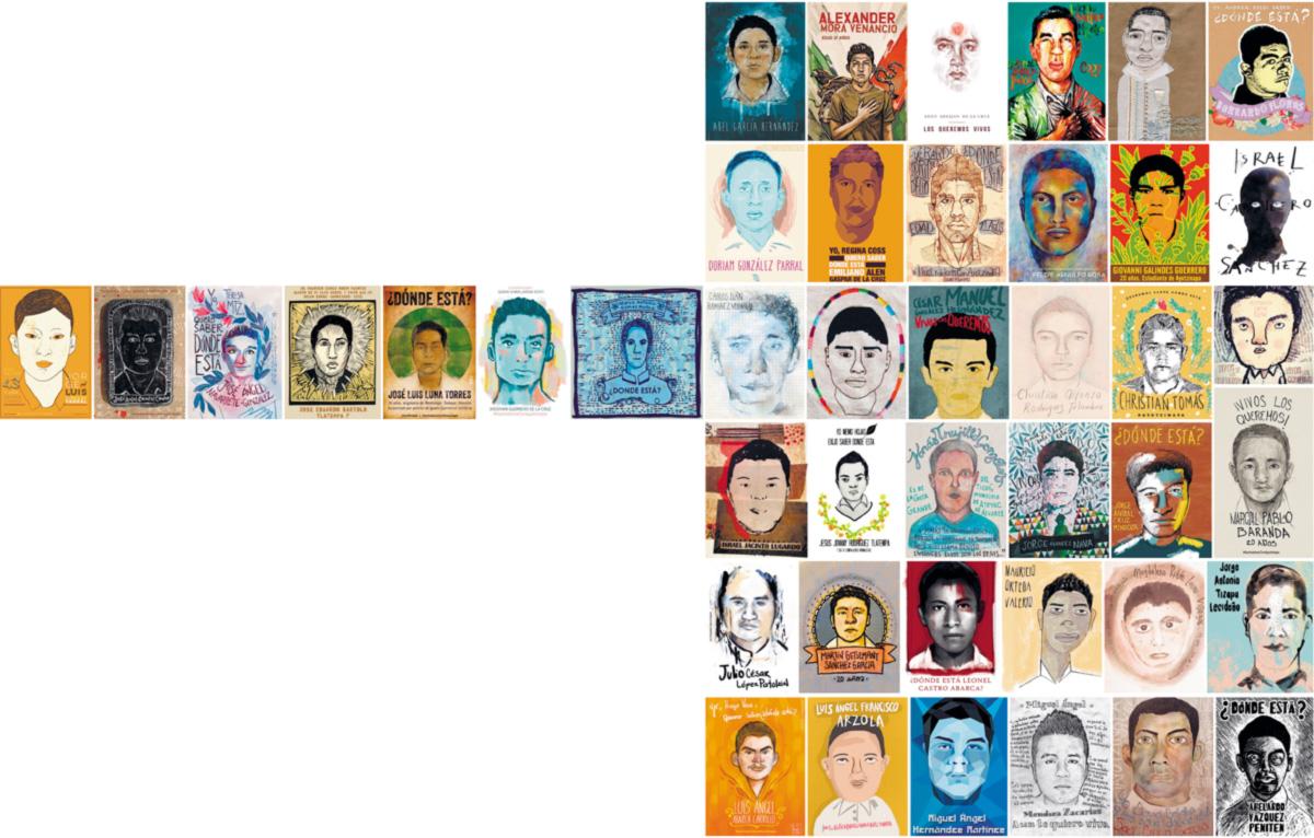 Artistas plásticos mexicanos retrataram os 43 alunos da Escola Normal de Ayotzinapa que desapareceram em setembro, depois de atacados por policiais e homens armados à paisana