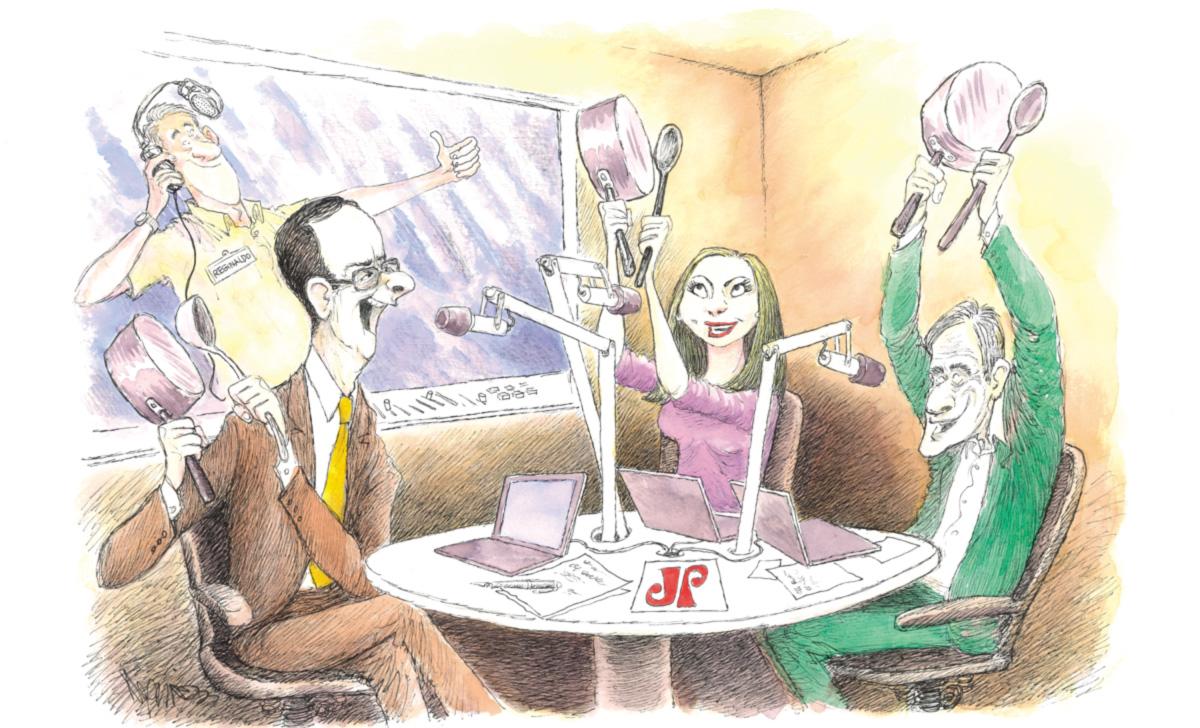"""Reinaldo Azevedo, Raquel Sheherazade e Marco Antonio Villa foram contratados para converter a Jovem Pan em palanque contra Dilma, Lula e o PT. Dono da rádio e fiador da mudança, Tutinha exulta com o fato de não fazer mais """"jornalismo água de salsicha"""": """"Aos poucos vou reerguendo essa merda"""""""