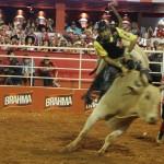 Salva-vidas se preparam para auxiliar peão da montaria em touros.