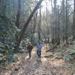 Chris Uhl e Beto Veríssimo durante caminhada por um bosque nos arredores de State College