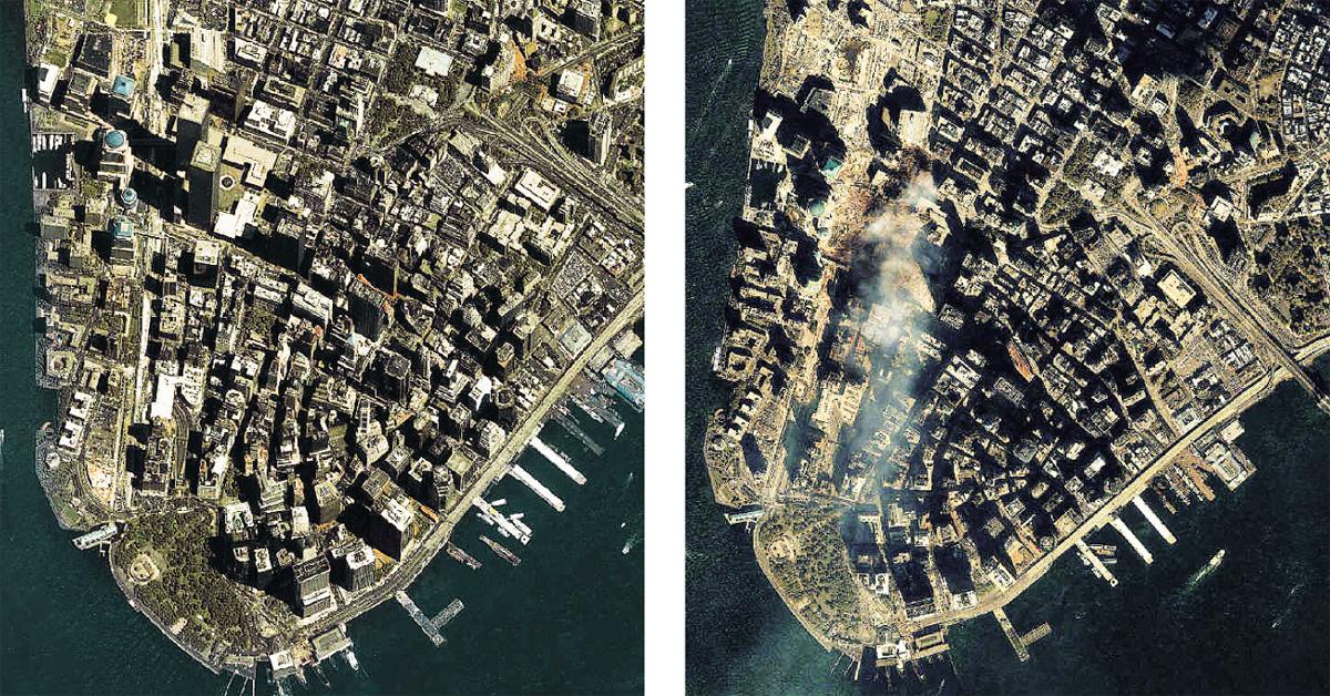 Sul da ilha de Manhattan, Nova York, manhã de 11 de setembro de 2001, antes e depois