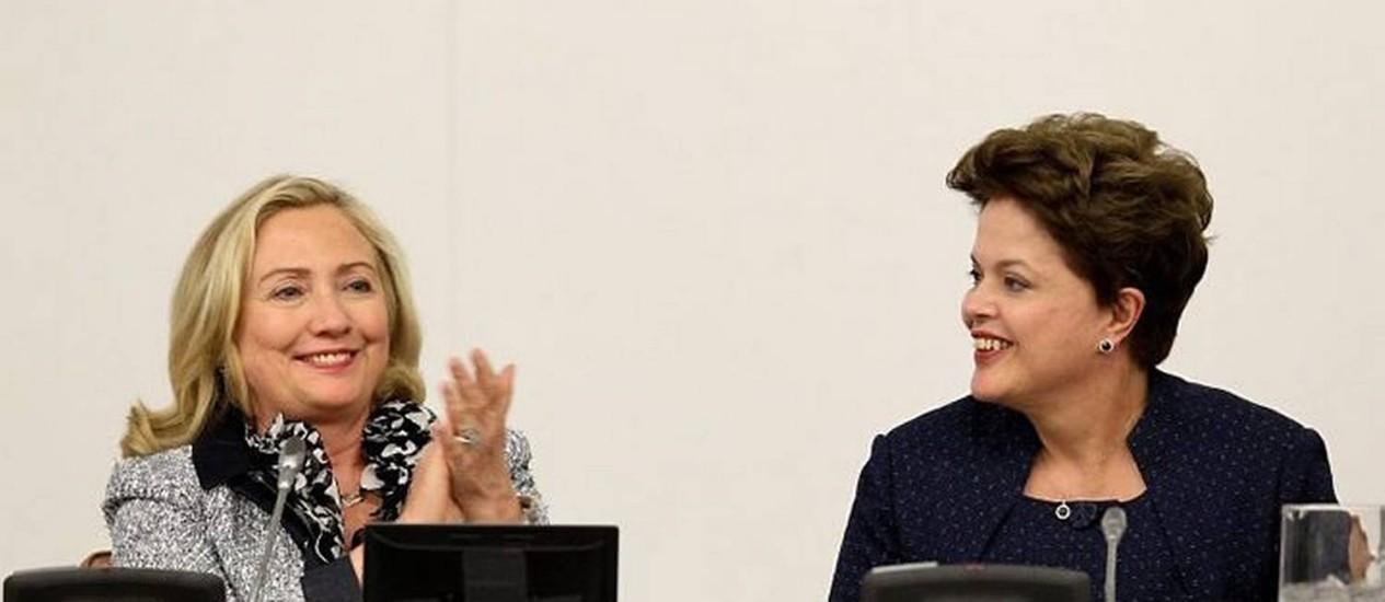 """Hillary e Dilma no """"Colóquio de Alto Nível sobre Participação Política de Mulheres"""" realizado na ONU em 2011"""