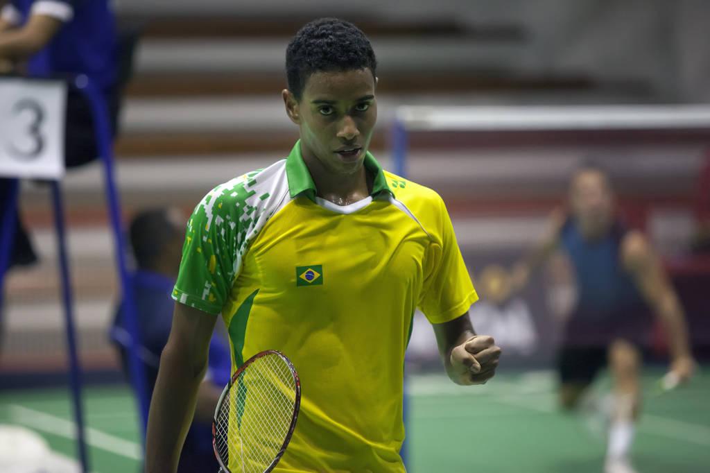 Ygor Coelho comemora um ponto marcado no Brasil Open 2015
