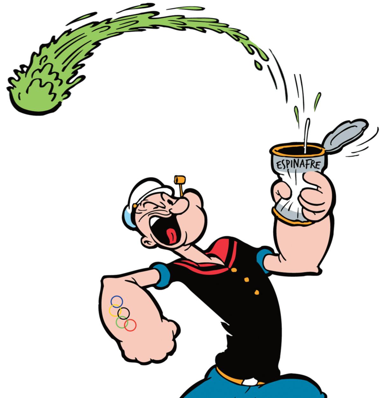 Personagem criado em 1929 por E. C. Segar, o simpático marinheiro Popeye esbanja testosterona comendo espinafre. Seu feito maior era defende Olivia Palito. Hoje, prêmio maior é o pódio olímpico