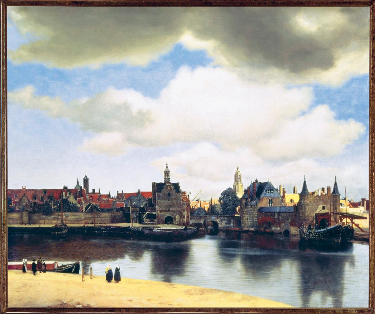 """Diante da <i> Vista de Delft </i>, Bergotte disse: """"Seria preciso passar várias camadas de cor, tornar minha frase preciosa em si mesma, como esse pequeno pedaço de parede amarela."""""""