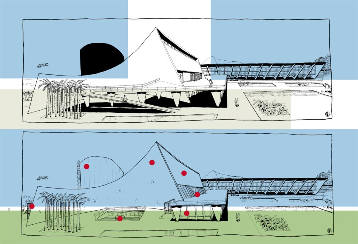 O projeto de Affonso Eduardo Reidy foi a primeira obra de porte, no Brasil, a usar concreto aparente. A solução para sustentar a estrutura, por colunas em V, causou inveja a Le Corbusier