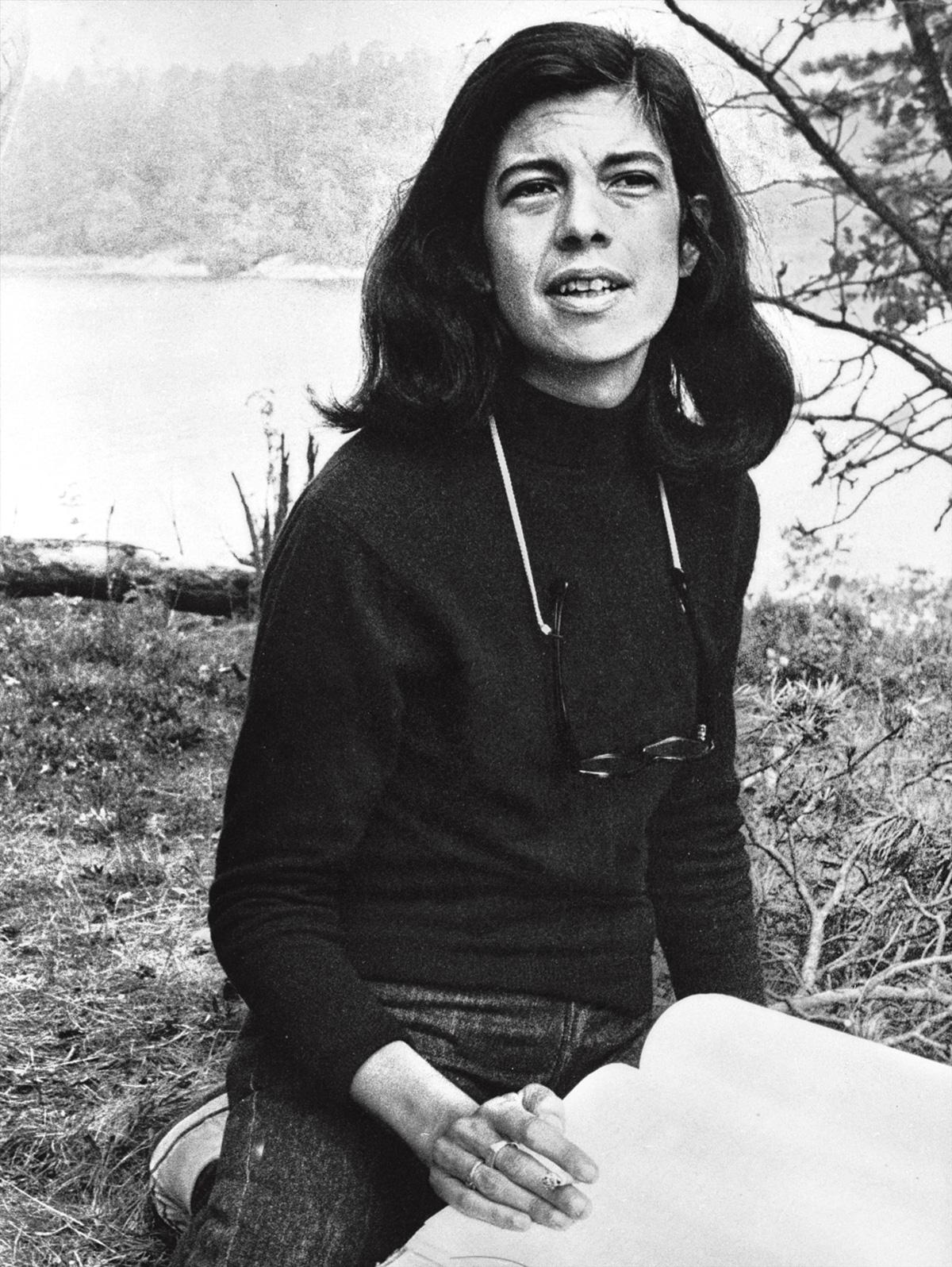 Susan Sontag aos 38 anos. Ela gostava de Bach, sushi, cachorros peludos, suéteres; não gostava de Ezra Pound, comida alemã, homens peludos