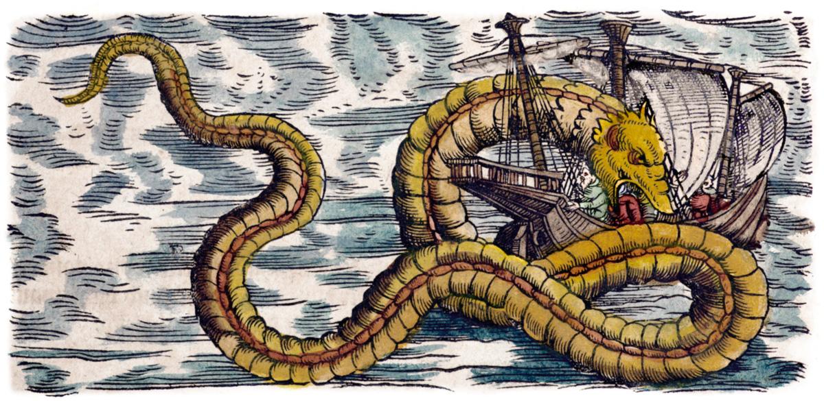 O peixe-remo, que pode atingir 17 metros e tem uma nadadeira similar a uma crista vermelha, é candidato a explicar monstros marinhos abundantes na mitologia nórdica