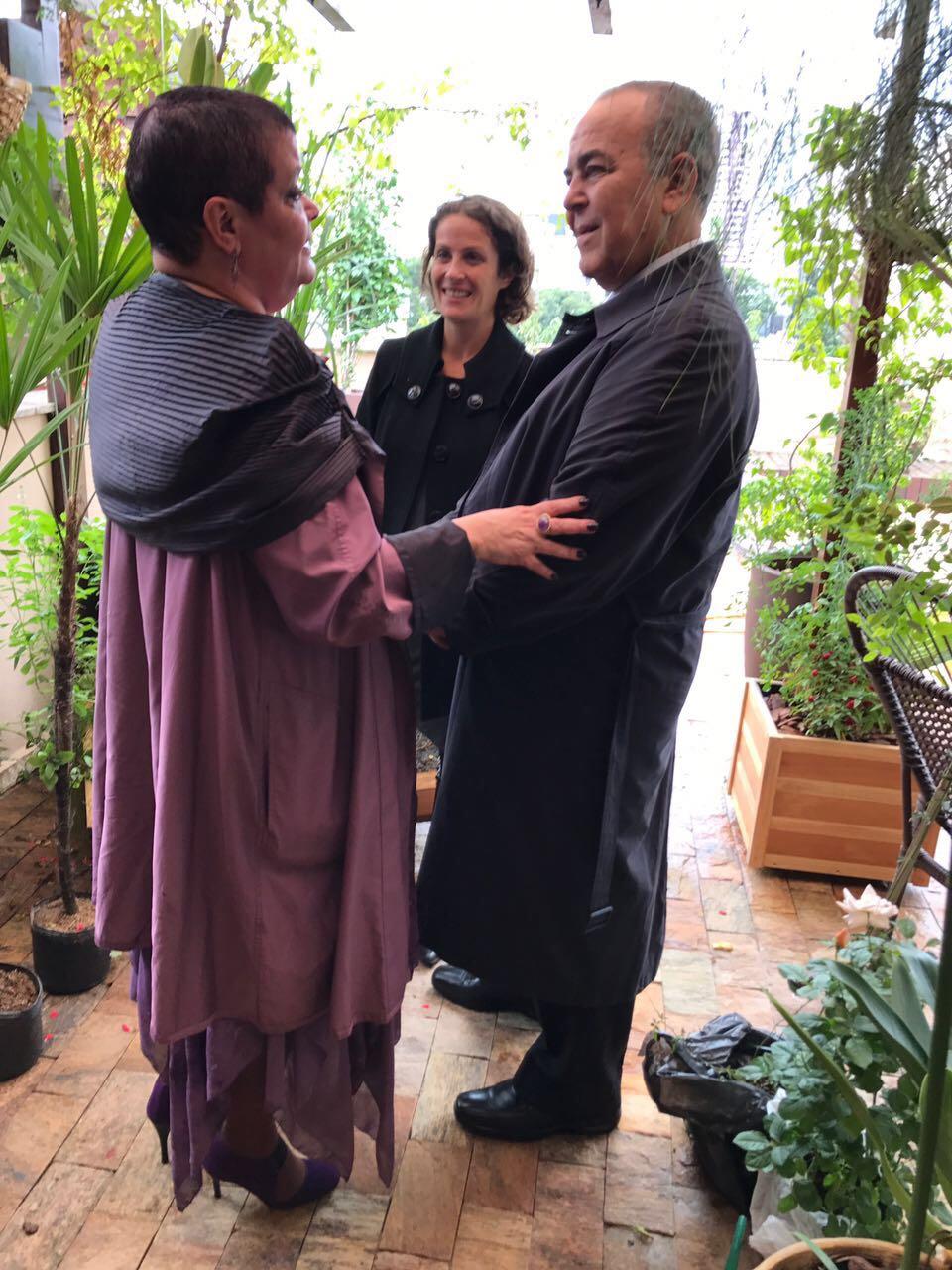 Dra. Virgínia e seus advogados, Elias e Louise Assad.