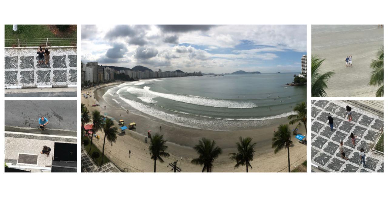 Vista do sétimo andar do Solaris. No detalhe, turistas fotografam o triplex que, para o Ministério Público, é do ex-presidente Lula.