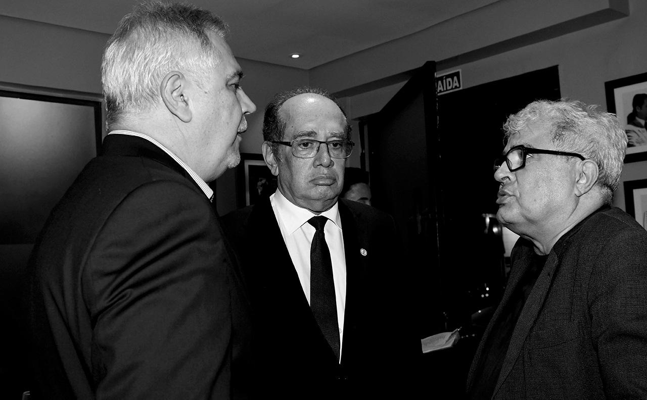 Ascânio Seleme, diretor de redação do jornal <i>O Globo</i>, Gilmar Mendes e Ricardo Noblat