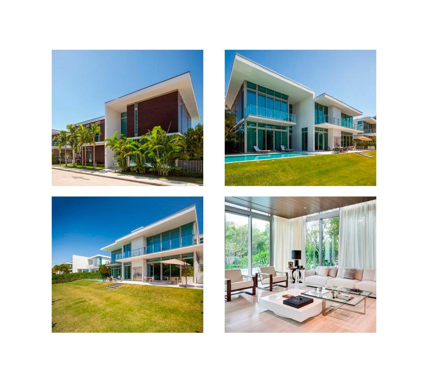A casa de Miami, comprada por 5,3 milhões de dólares. O condomínio tem praia privativa, quadras de tênis, cinema, restaurante e manobristas destinados especialmente aos carrinhos de golf.
