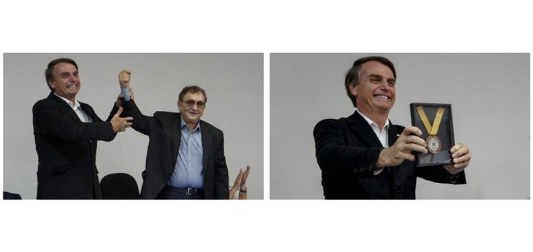 """Mão Santa ao lado de Jair Bolsonaro: """"sou o homem mais preparado para presidir o Brasil."""" Sem chances de concorrer à presidência, ele espera pela candidatura do deputado."""