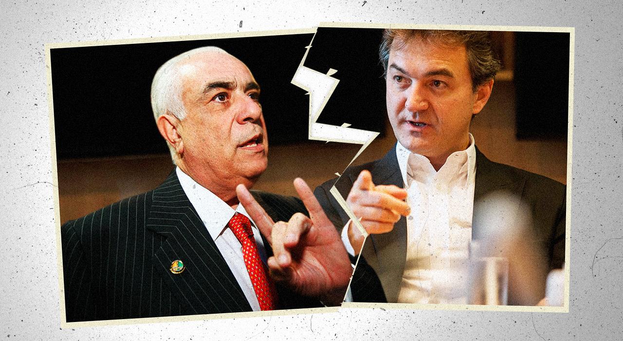 Enquanto era procurado pela PF, o político (à esquerda) se escondia em um hotel em São Paulo