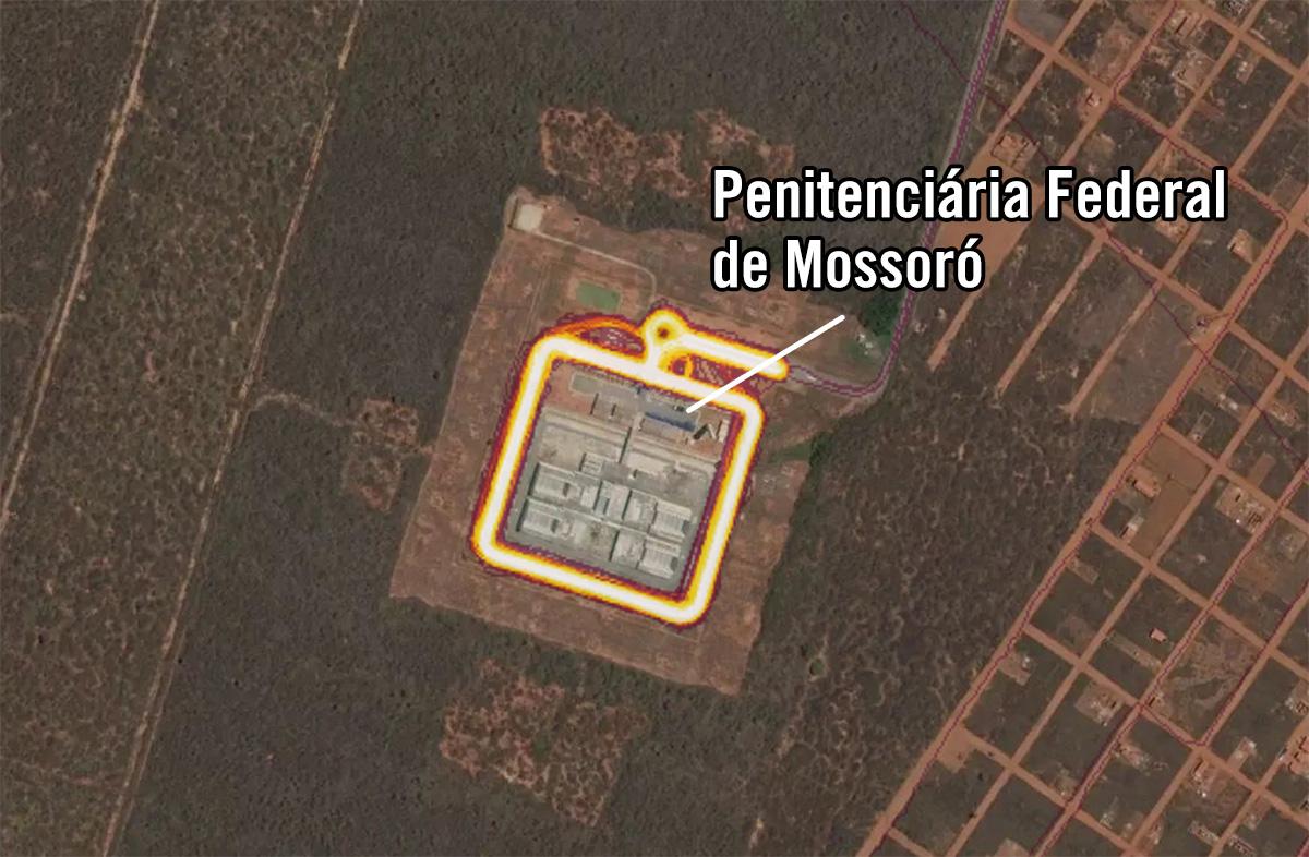 Movimentação de usuários do aplicativo Strava na Penitenciária Federal de Mossoró, no Rio Grande do Norte. onde está preso o traficante Fernandinho Beira-Mar