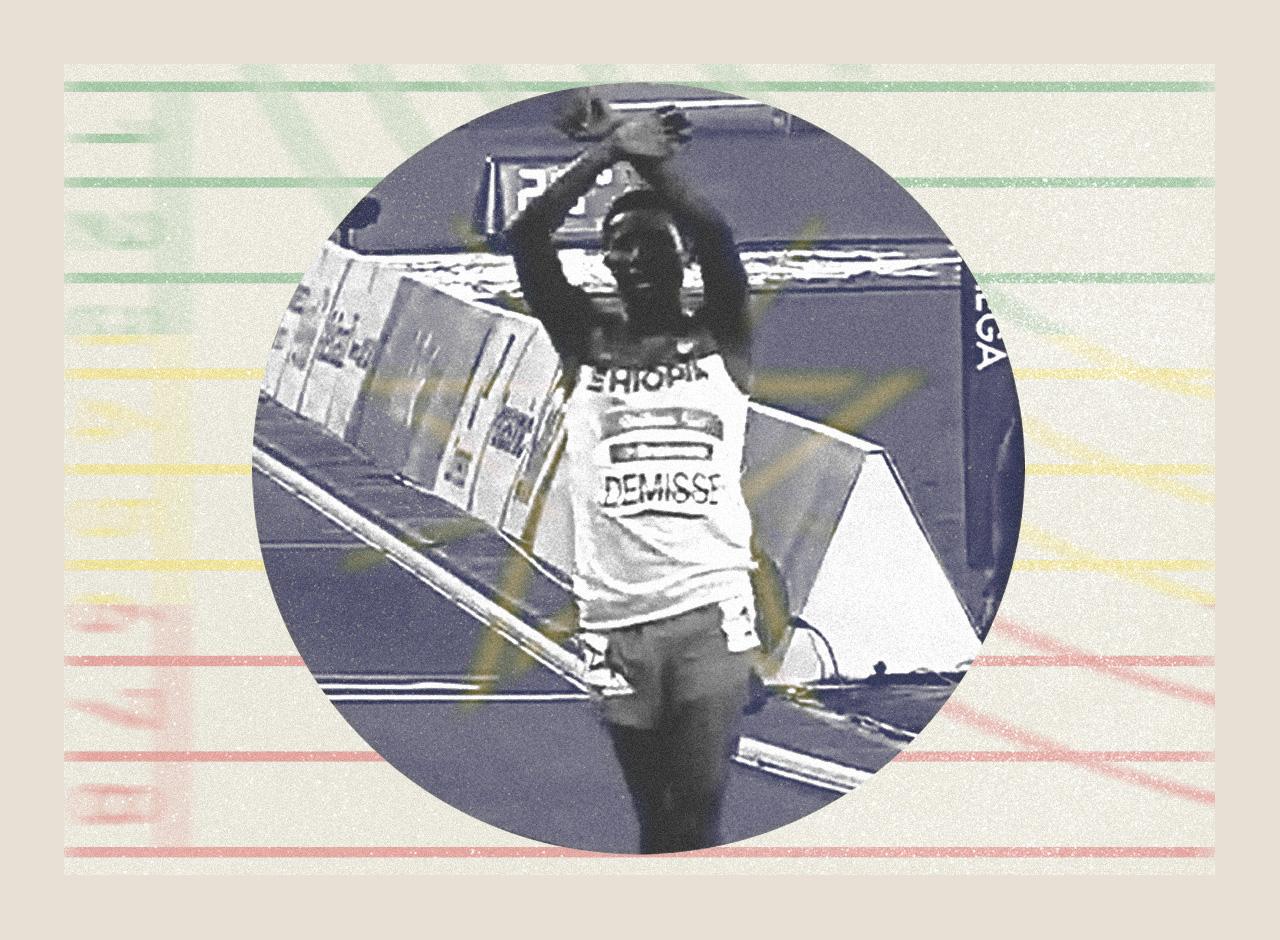 O meio-fundista etíope Tamiru Demisse comemora conquista no Rio; no início de fevereiro foi lançado crowdfunding para ajudar o paratleta, que hoje vive em São Paulo