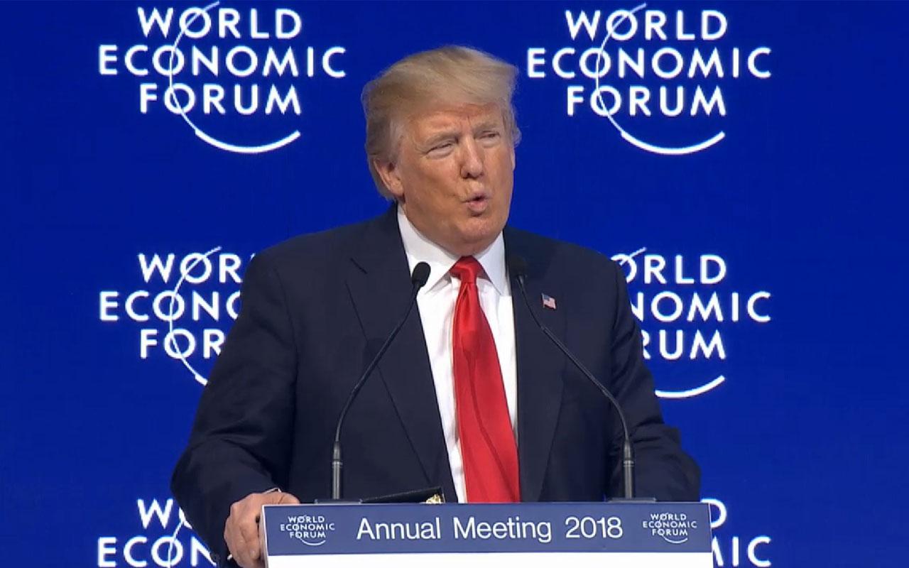 """""""Sempre colocarei o interesse dos americanos em primeiro lugar. Mas 'América primeiro' não significa América sozinha"""", disse Trump no fórum promovido pelas mil maiores transnacionais do planeta"""