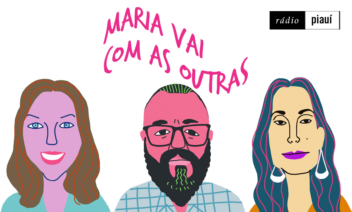 Leticia Nascimento, Paulinho Coruja e Vanessa Lóes, convidados do quarto episódio, pelo traço do ilustrador Caio Borges