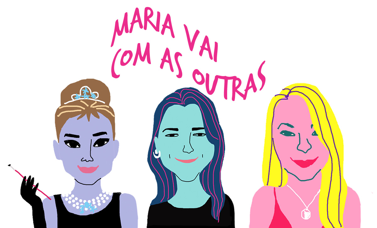 As convidadas Livia Rodrigues, Marcia Soares e Monique Lopes pelos traços do ilustrador Caio Borges