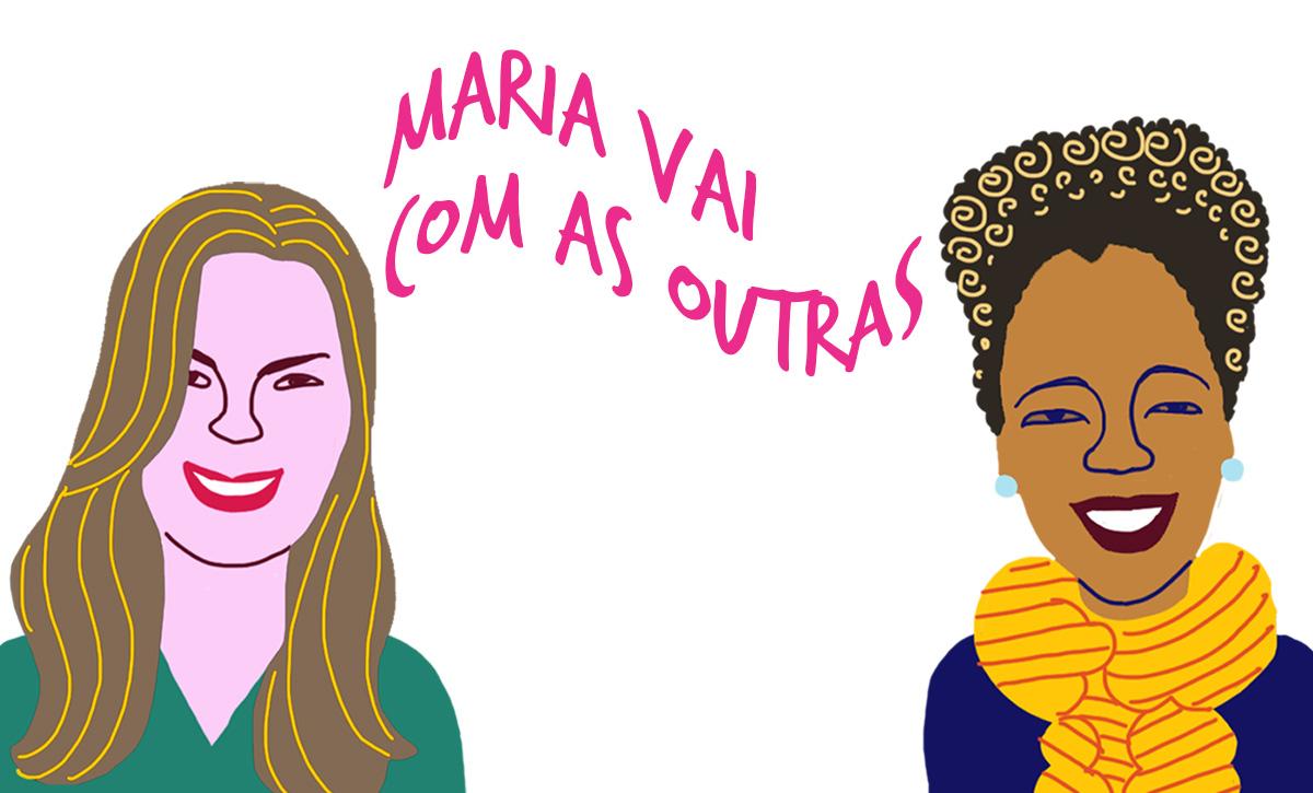 As convidadas Débora Machado e Adriana Cruz, pelos traços do ilustrador Caio Borges