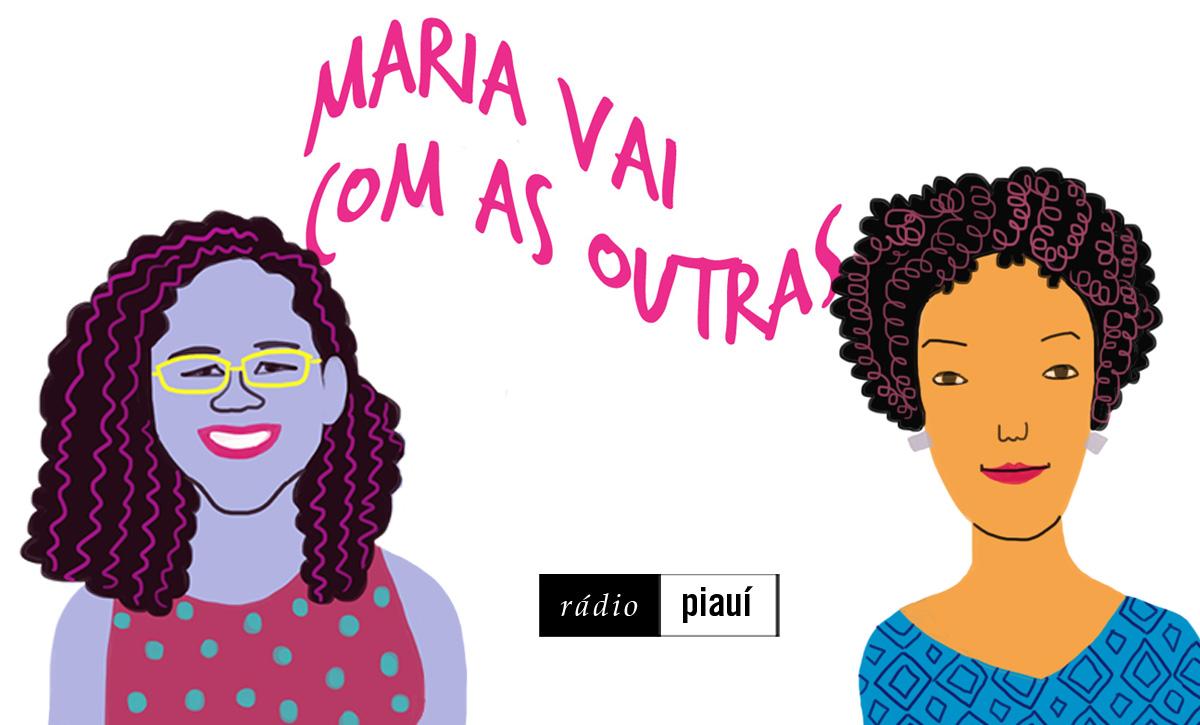 As convidadas Natália Paiva e Stephanie Borges, pelo traço do ilustrador Caio Borges