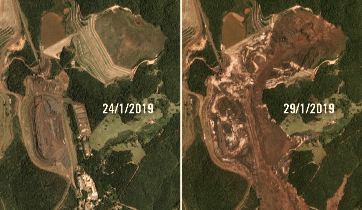 O antes e o depois da tragédia, nas imagens do satélite da SCCON/Planet, cedidos pelo projeto MapBiomas