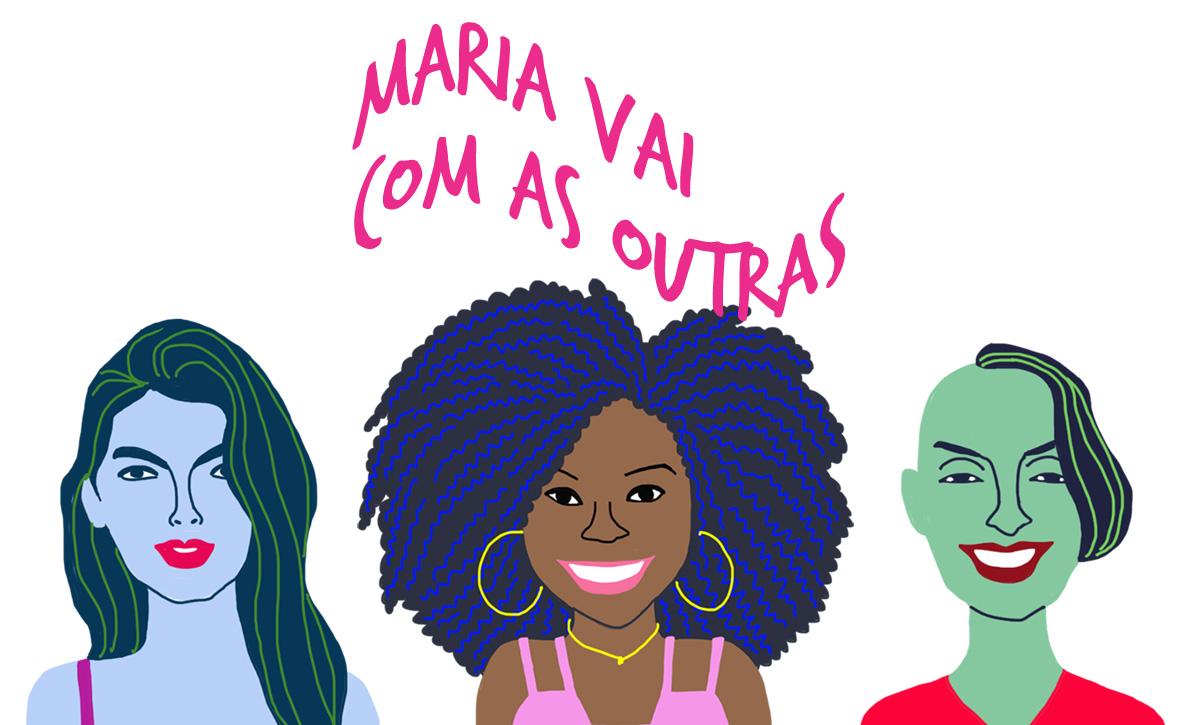 As convidadas Helena, Mirna e Camila, pelo traço do ilustrador Caio Borges
