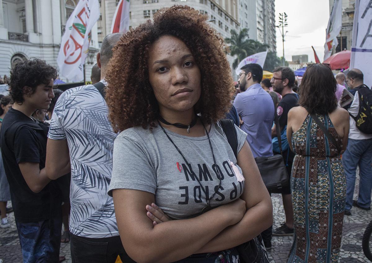 Dandara Vianna no ato que lembrou um ano da morte de Marielle Franco