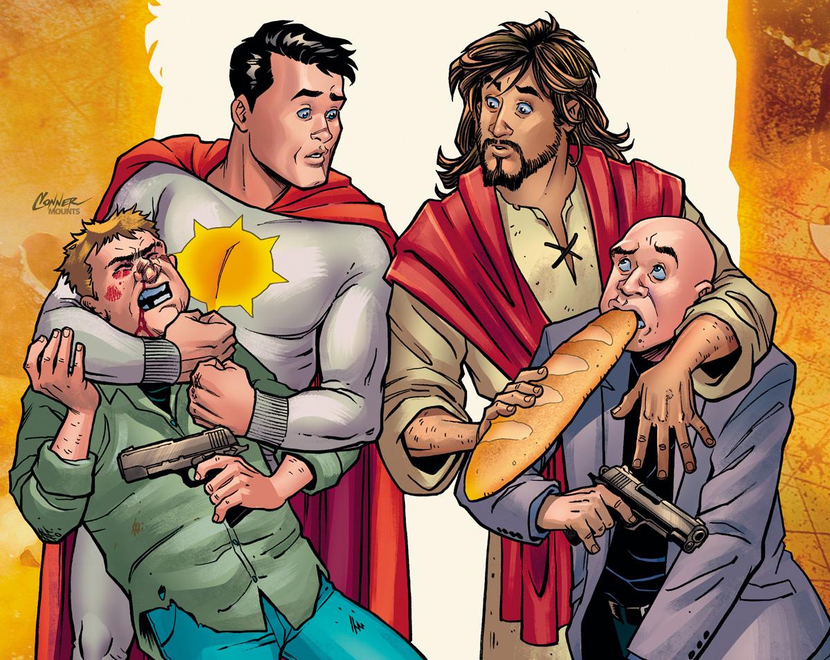 Na HQ de Mark Russell, em vez de contar com apóstolos, Cristo se alia ao super-herói Sunstar para combater o mal