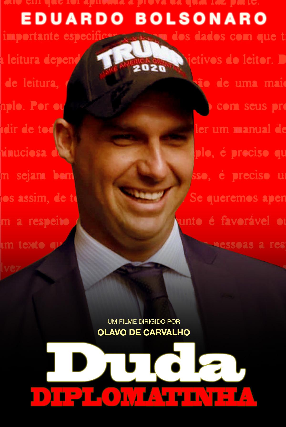 O chanceler Ernesto Araújo deve fazer uma ponta, no início do filme, como estagiário de Duda Diplomatinha na casa de hambúrguer.