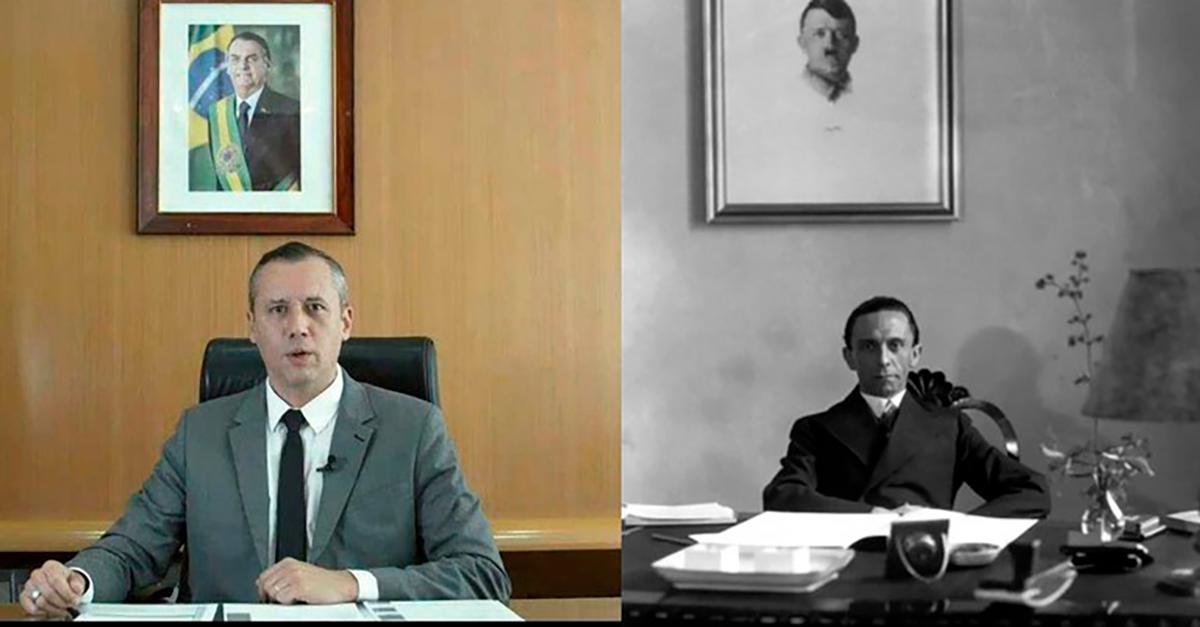 Ainda que irritado com o governo Bolsonaro, Hitler se disse curioso para ver a montagem da tragédia sobre o ministro nazista que foi demitido do governo nazista justamente depois de fazer uma apologia ao nazismo