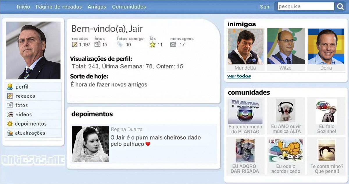 """Questionado sobre a possível volta a meios analógicos, Carlos Bolsonaro respondeu via chat do MSN: """"Mas quem somos nós nesse infinito estrelar binário, que na atual situação significa apenas ego? Brasil!"""""""