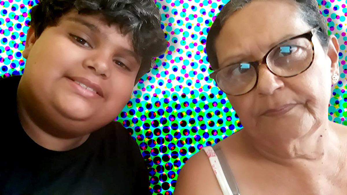 Fátima Silva e o neto Gabrie, de 11 anos –
