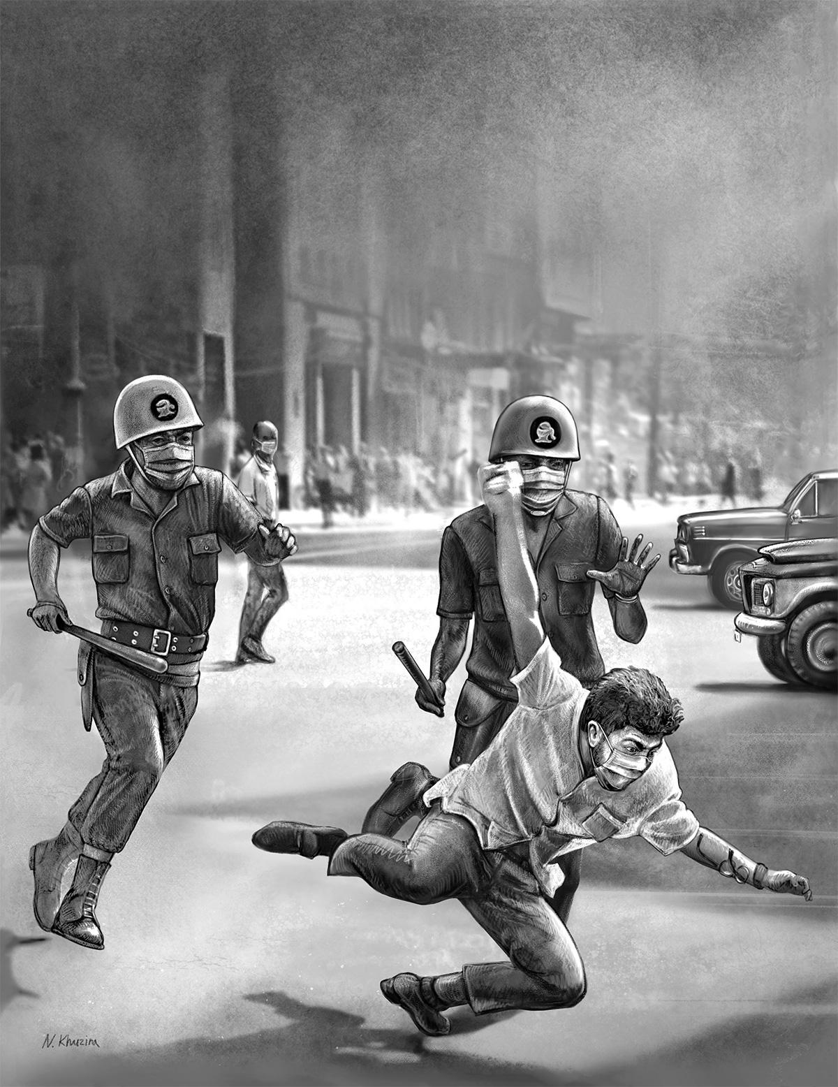 A pancadaria de 1968, numa imagem clássica dos tempos de chumbo, agora atualizada: a eleição de Bolsonaro é um revés histórico comparável ao golpe que instaurou a ditadura militar