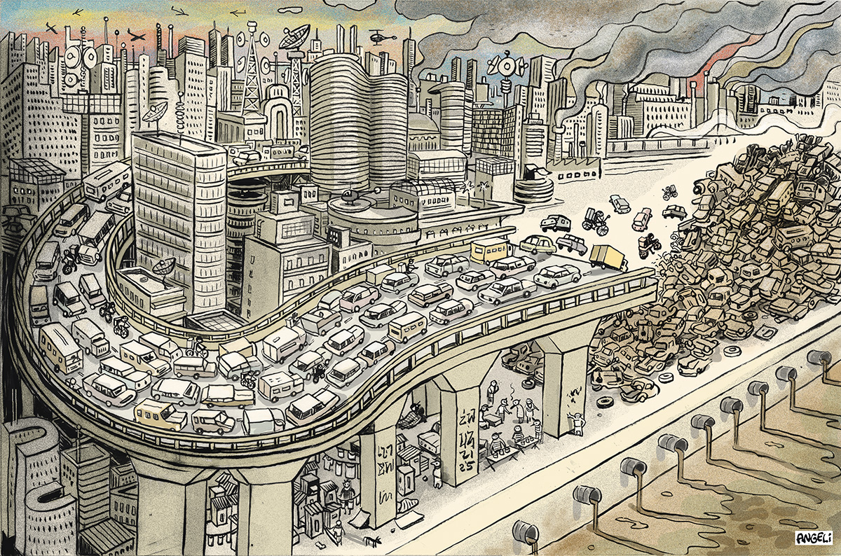 Caos urbano: como os carros ocupam a maior parte dos espaços das ruas, embora transportem só uma parcela dos passageiros, eles demandam áreas que as cidades poderiam destinar à absorção das águas, prover moradias e espaços públicos
