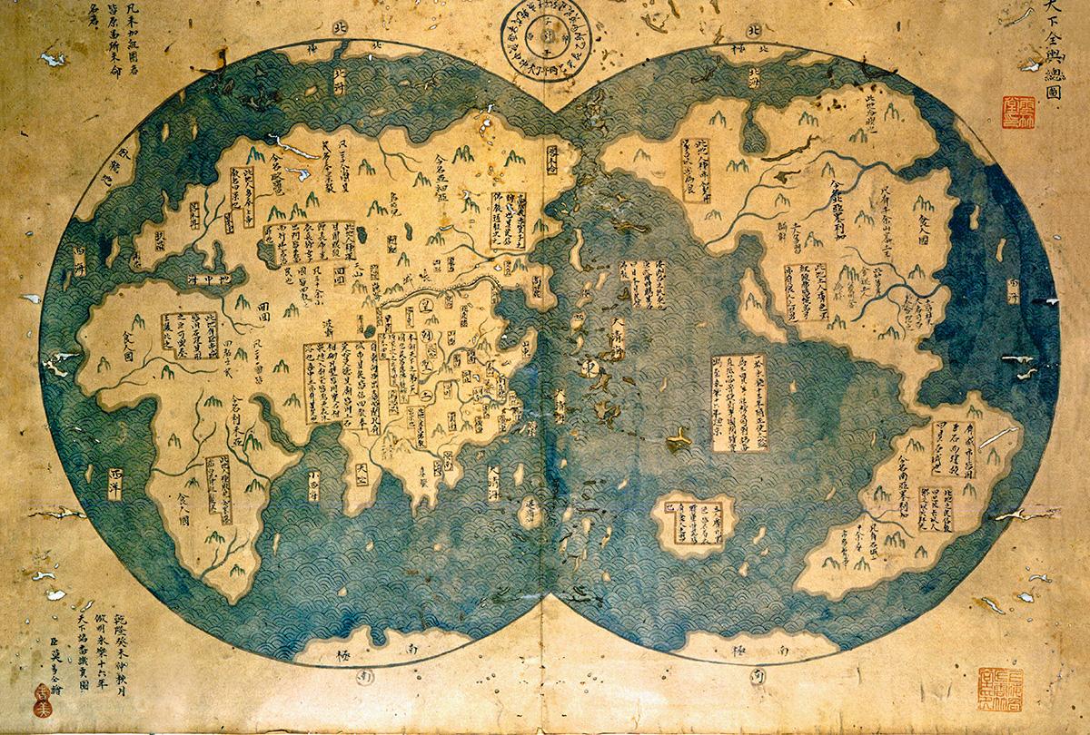Mapa atribuído a Zheng He, grande navegador chinês do século XV: ao contrário dos EUA, que não temem agressão do Canadá ou do México, a China tem uma vulnerabilidade geográfica, que lhe traz preocupações reais com vizinhos poderosos, como a Rússia, a Coreia, a Índia e o Japão