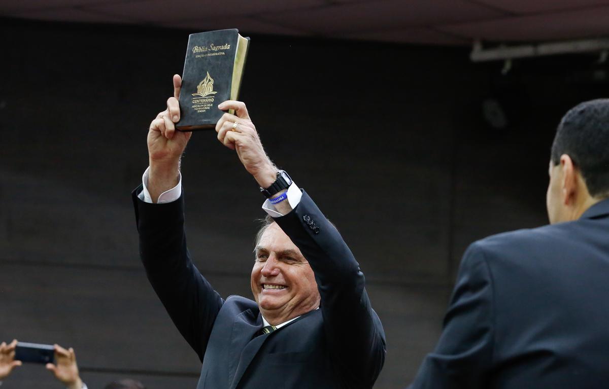Presidente Jair Bolsonaro em culto realizado em Manaus no dia 26 de novembro de 2019